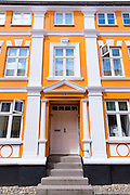 Traditional frontage of building in Ribe centre in South Jutland, Denmark