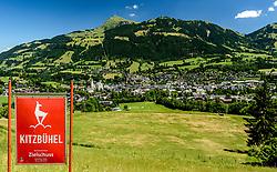 THEMENBILD - Im Blick der Zielsprung und das Zielgelände umgeben mit dem bergpanorama des Kitzbüheler Horn und der Stadt Kitzbühel, aufgenommen am 26. Juni 2017, Kitzbühel, Österreich // In the view of the goal jump and the target area surrounded by the mountain panorama of the Kitzbüheler Horn and the town of Kitzbuehel at the Streif, Kitzbühel, Austria on 2017/06/26. EXPA Pictures © 2017, PhotoCredit: EXPA/ Stefan Adelsberger
