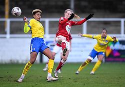 Molly Pike of Bristol City Women is challenged by Victoria Williams of Brighton and Hove Albion - Mandatory by-line: Ryan Hiscott/JMP - 30/01/2021 - FOOTBALL - Twerton Park - Bath, England - Bristol City Women v Brighton and Hove Albion Women - FA Womens Super League 1