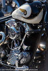 Detail of Bryan Lane's custom Harley-Davidson Knucklehead at the Choppertime Old School Bike Show held at Willie's Tropical Tattoo during Daytona Bike Week. Ormond Beach, FL. USA. Thursday March 16, 2017. Photography ©2017 Michael Lichter.
