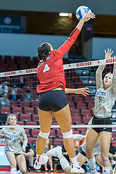 BLOOMINGTON, IL - October 23: Aliyah Moore  during a college Women's volleyball match between the ISU Redbirds and the Drake Buldogs on October 23 2021 at Illinois State University in Normal, IL. (Photo by Alan Look)