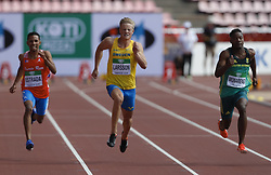 July 10, 2018 - Tampere, Suomi Finland - 180710 Friidrott, Junior-VM, Dag 1: Jeremy Estrada PUR, Henrik Larsson SWE and Thembo Monareng RSA competes in XXX during the IAAF World U20 Championships day 1 at the Ratina stadion 10. July 2018 in Tampere, Finland  (Credit Image: © Kalle Parkkinen/Bildbyran via ZUMA Press)
