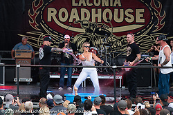 Jack Schit hosted the wet-t shirt contest on the main stage at the Laconia Roadhouse during Laconia Motorcycle Week. NH. USA. Wednesday June 13, 2018. Photography ©2018 Michael Lichter.