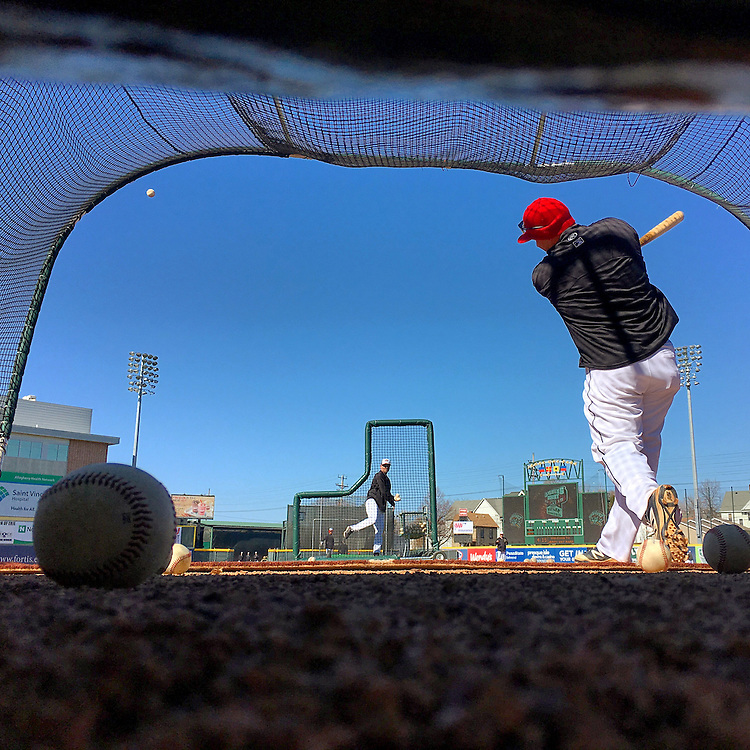 Erie SeaWolves batting practice is pictured through the backstop net at Jerry Uht Park before the SeaWolves' home opener against the Binghamton Mets at Jerry Uht Park on April 14 in Erie. This picture was edited and originally published using Instagram. Photo by Andy Colwell/Erie Times-News