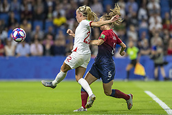 June 27, 2019 - Le Havre, França - LE HAVRE, SM - 27.06.2019: NORWAY VS ENGLAND - Beth Mead of England and Synne Hansen of Norway during a match between England and Norway. World Cup Qualification Football. FIFA. Held at the Oceane Stadium in Le Havre, France  (Credit Image: © Richard Callis/Fotoarena via ZUMA Press)