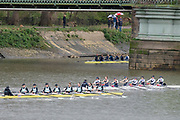 Hammersmith, Greater London, 15th March 2020, Inaugural Women's Lightweight Boat Race, Oxford University Lightweight Women, [Blue Boat], and  Cambridge University Lightweight Women's BC, approaching to Hammersmith Bridge, Championship Course, Putney to Mortlake, River Thames, [Mandatory Credit: Peter SPURRIER/Intersport Images],