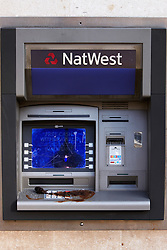 © licensed to London News Pictures. LONDON, UK  01/05/2011. The Natwest Bank cash machines near Charing Cross station are vandalised with dog excrement during the traditional May Day worker march. Please see special instructions for usage rates. Photo credit should read CLIFF HIDE/LNP