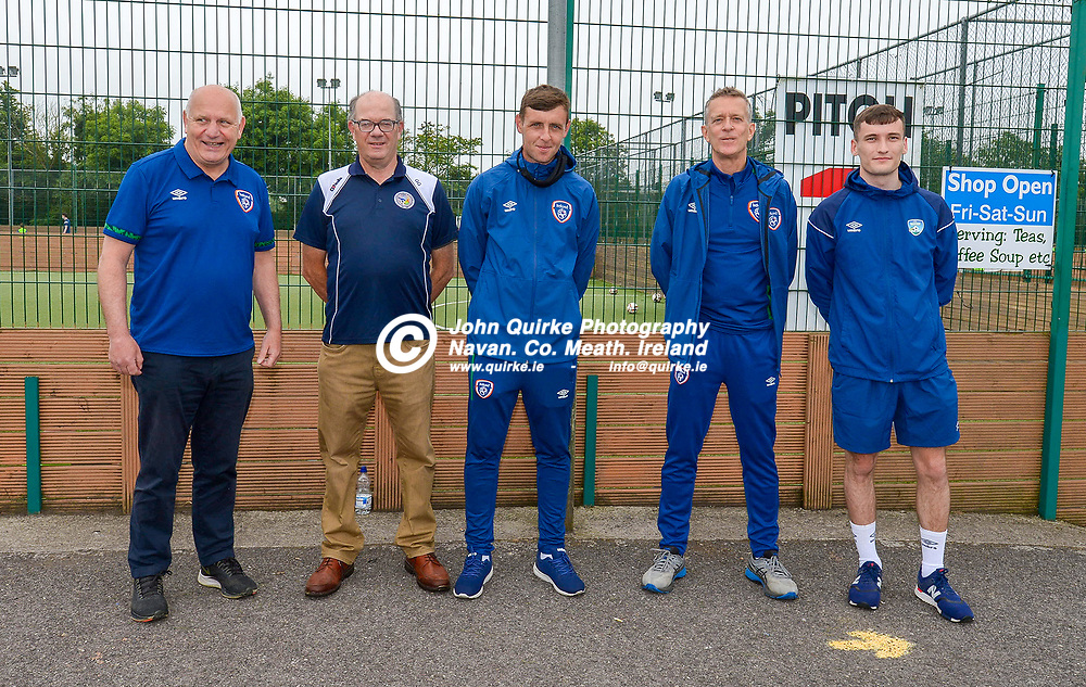 Pictured from left: Gerry McAnaney (FAI President); Gerry Gorman, secretary MDL; Richie Smyth, Football Developement Officer for Meath; Jonathan Hill , FAI Chief Executive Officer and Conor Woods, Summer School Head Coach, at the FAI Summer Soccer Schools at MDL, Navan.<br /> <br /> Photo: GERRY SHANAHAN-WWW.QUIRKE.IE<br /> <br /> 01-07-2021