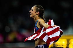 London, 2017 August 07. Jennifer Simpson, USA, celebrates her silver medal in the women's 1,500m final on day four of the IAAF London 2017 world Championships at the London Stadium. © Paul Davey.