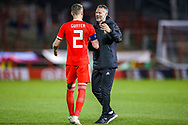 Wales Manager Ryan Giggs thanks Wales defender Chris Gunter at the end of the game during the Friendly European Championship warm up match between Wales and Trinidad and Tobago at the Racecourse Ground, Wrexham, United Kingdom on 20 March 2019.