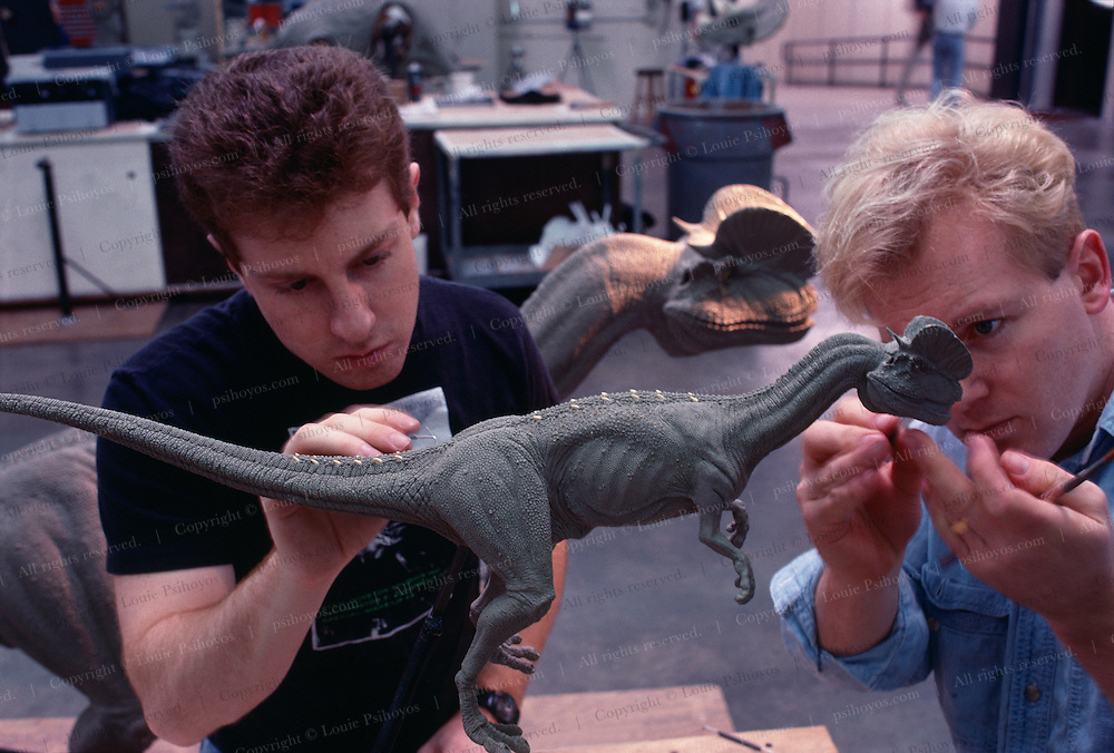 At Stan Winston Studios outside L.A. in Van Nuys, CA., the dinosaurs, like this Dilophosaurus for Steven Spielberg's action epic, Jurassic Park are created.  Stan is one of Hollywoods most innovative character creators.