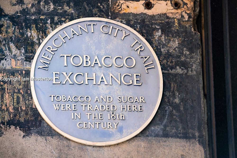 Glasgow, Scotland, UK. 12 June 2020. Plaque in Merchant City in Glasgow  commemorating location of tobacco exchange. Iain Masterton/Alamy Live News