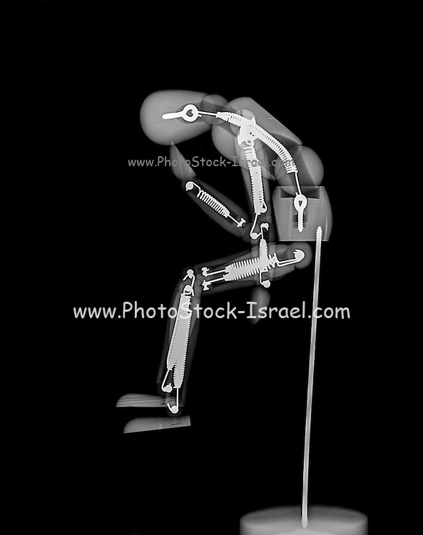 The Thinker (or thinking man - Homo sapiens) mannequin under x-ray