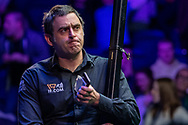 Ronnie O'Sullivan exits the competition after loosing 5-4 to Mark Selby in the Quarter of the 19.com Home Nations Scottish Open at the Emirates Arena, Glasgow, Scotland on 13 December 2019.