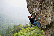"Eric Berghorn climbing ""Wine Style"" 5.11b, on Mt. St. Helena in Robert Louis Stevenson State Park, Calistoga, California"
