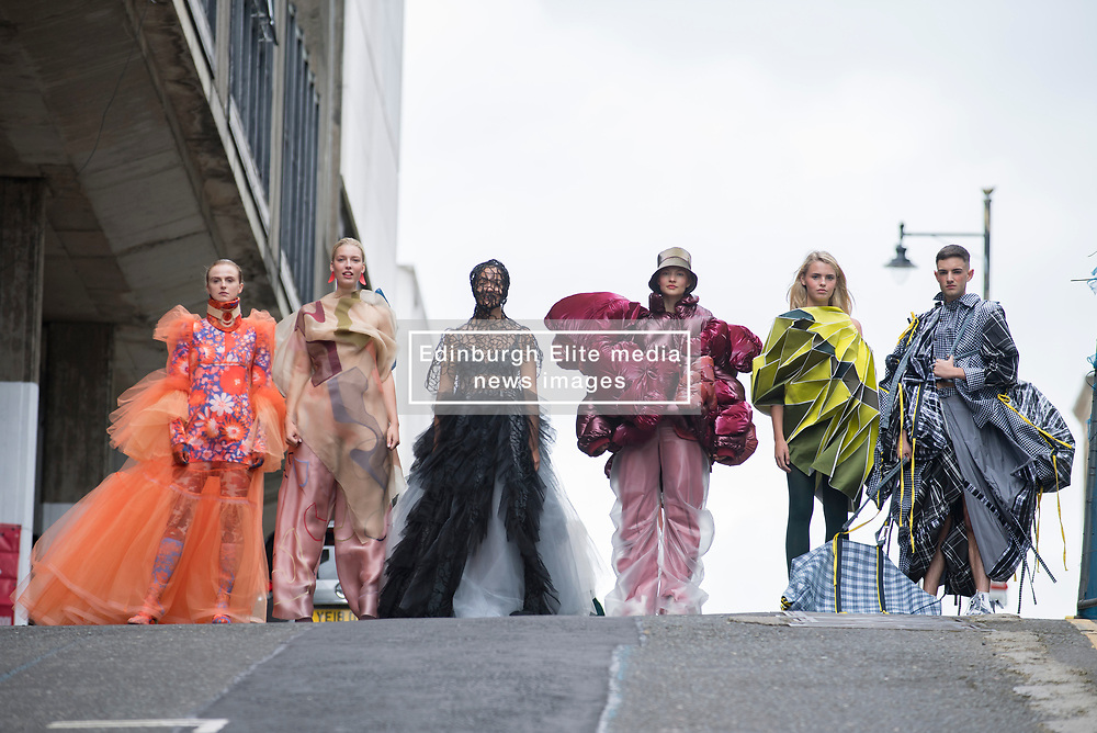 Pictured: designs by students Inga Keralerova, Franz Maggs, Nour Daher, Juexin. Zhang, Qianyu Zhu and Rongqing Wang.<br /> <br /> <br /> Students studying fashion design at Glasgow School of Art previewed their work before their annual degree show.<br /> <br /> © Dave Johnston / EEm