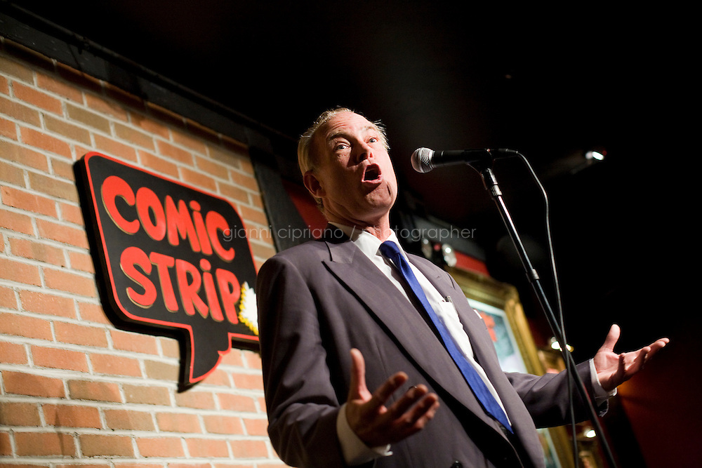 8 October, 2008. New York, NY. Harry Hurt III, columnist of Executive Pursuits for The New York Times, performs as a stand-comic on the stage of the Comic Strip club in Manhattan, NY, in front of a live audience. Harry Hurt learned how to become a stand-comic training minutes before with the comic and m.c. D.F. Sweedler.  <br /> <br /> ©2008 Gianni Cipriano for The New York Times<br /> cell. +1 646 465 2168 (USA)<br /> cell. +1 328 567 7923 (Italy)<br /> gianni@giannicipriano.com<br /> www.giannicipriano.com