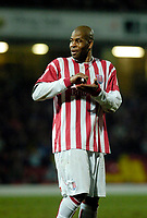 Photo: Leigh Quinnell.<br /> Watford v Stoke City. Coca Cola Championship.<br /> 14/01/2006. Stokes Michael Duberry pretends to sign an autograph for a fan.