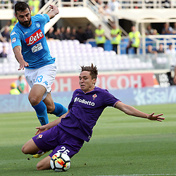April 29, 2018 - Florence, Florence, Italy - 29th April 2018, Stadio Artemio Franchi, Florence, Italy; Serie A Football, Fiorentina versus Napoli; (L-R) Raul Albiol of Napoli challenges Federico Chiesa of Fiorentina  Credit: Giampiero Sposito/Pacific Press (Credit Image: © Giampiero Sposito/Pacific Press via ZUMA Wire)