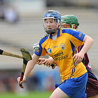 22 August 2010; Ailish Condidine, Clare, in action against Tara Kenny, Galway. All-Ireland Minor A Camogie Championship Final, Galway v Clare, Semple Stadium, Thurles, Co. Tipperary. Picture credit: Matt Browne / SPORTSFILE *** NO REPRODUCTION FEE ***