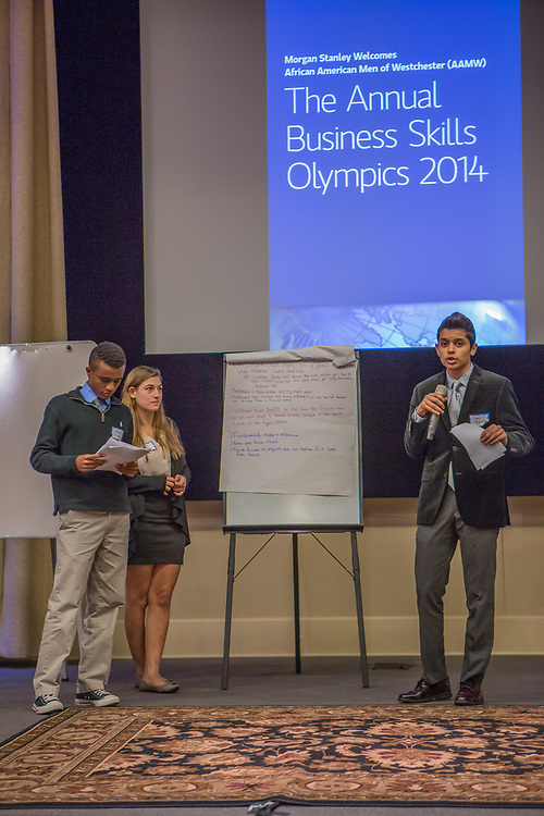 Purchase, NY – 31 October 2014. The team from Ossining High School giving their presentation. (Left to right:  Senai Motley, Adriana Sallucci,  Sami Rajput.) The Business Skills Olympics was founded by the African American Men of Westchester, is sponsored and facilitated by Morgan Stanley, and is open to high school teams in Westchester County.