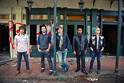 17 October 2013. Abandoned Six Flags, New Orleans, Louisiana. <br /> Terry McDermott and the Bonfires. <br /> L/R; Alex Smith, Richard Hyland, Terry McDermott, Eric Bolivar and  Dave Rosser.<br /> Photo; Charlie Varley