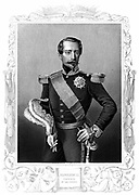 Napoleon III (Louis-Napoleon) 1808-1873. Emperor of the French 1852-1870. Portrait engraving at the time of the Crimean War (1853-1856).