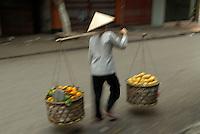 Vietnam. Hanoi. Porteur dans le quartier des trente-six guides.  // Vietnam. Hanoi. Porter in the old Quarter