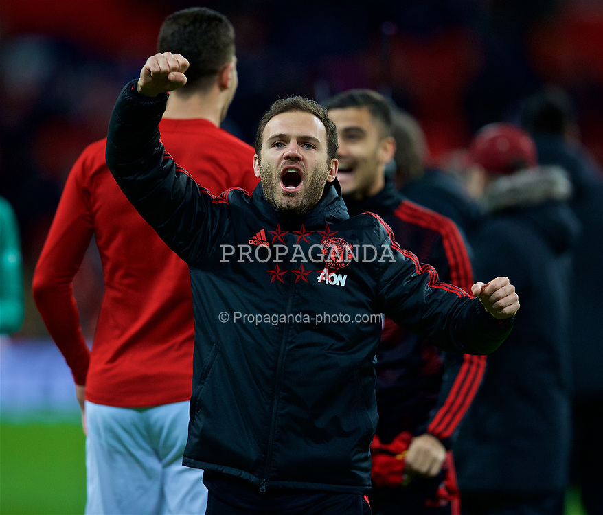 LONDON, ENGLAND - Sunday, January 13, 2019: Manchester United's Juan Mata celebrates after his side's 1-0 victory over Tottenham Hotspur after the FA Premier League match between Tottenham Hotspur FC and Manchester United FC at Wembley Stadium. (Pic by David Rawcliffe/Propaganda)
