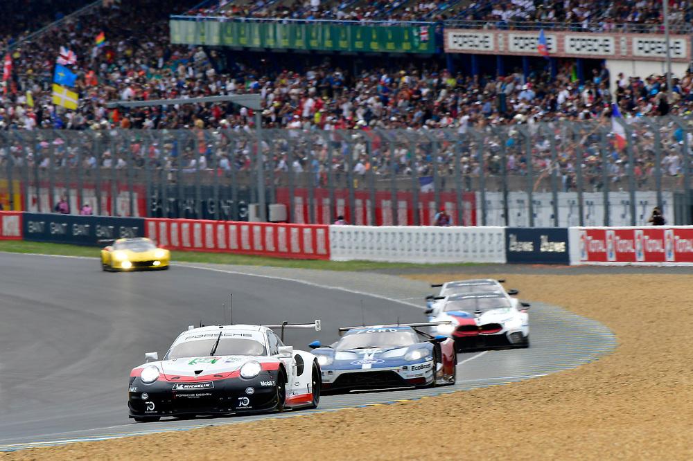 #94 Porsche GT Team Porsche 911 RSR: Romain Dumas, Timo Bernhard, Sven Müller<br /> Saturday 16 June 2018<br /> 24 Hours of Le Mans<br /> 2018 24 Hours of Le Mans<br /> Circuit de la Sarthe  FR<br /> World Copyright: Scott R LePage