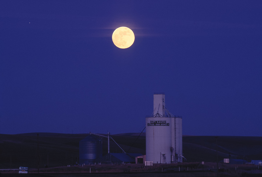 Moonrise over grain tower, Dusty, Washington, USA