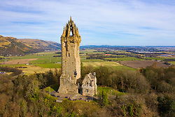 Aerial view of the National Wallace Monument  (closed during covid-19 lockdown0 , Stirling, Scotland , UK