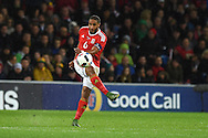 Ashley Williams of Wales in action.Vauxhall International football friendly, Wales v The Netherlands at the Cardiff city stadium in Cardiff, South Wales on Friday 13th November 2015. pic by Andrew Orchard, Andrew Orchard sports photography.