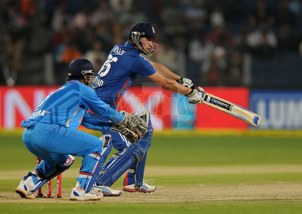 Alex Hales of England bats during the first Airtel T20 Match between India and England held at Subrata Roy Sahara stadium in Pune on the  20th December 2012..Photo by  Pal Pillai/BCCI/SPORTZPICS .