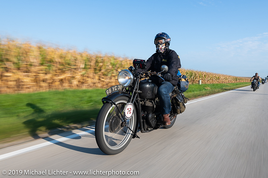 Larry Luce riding his 1938 Velocette KSS in the Cross Country Chase motorcycle endurance run from Sault Sainte Marie, MI to Key West, FL (for vintage bikes from 1930-1948). Stage 4 saw a 315 mile ride from Urbana, IL to Bowling Green, KY USA. Monday, September 9, 2019. Photography ©2019 Michael Lichter.