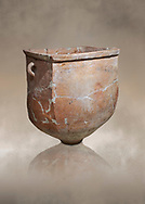 Hittite pottery container with handles from the Hittite capital Hattusa, Hittite New Kingdom 1650-1200 BC, Bogazkale archaeological Museum, Turkey.