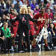 UNCASVILLE, CONNECTICUT- DECEMBER 19:  Head coach Sherri Coale of the Oklahoma Sooners on the sideline during the Naismith Basketball Hall of Fame Holiday Showcase game between the UConn Huskies Vs Oklahoma Sooners, NCAA Women's Basketball game at the Mohegan Sun Arena, Uncasville, Connecticut. December 19, 2017 (Photo by Tim Clayton/Corbis via Getty Images)