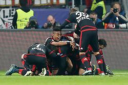 20.10.2015, BayArena, Leverkusen, GER, UEFA CL, Bayer 04 Leverkusen vs AS Roma, Gruppe E, im Bild Torjubel nach dem Tor von Admir Mehmedi (#14, Bayer 04 Leverkusen) zum 4:4 // during UEFA Champions League group E match between Bayer 04 Leverkusen and AS Roma at the BayArena in Leverkusen, Germany on 2015/10/20. EXPA Pictures © 2015, PhotoCredit: EXPA/ Eibner-Pressefoto/ Deutzmann<br /> <br /> *****ATTENTION - OUT of GER*****