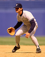 CLEVELAND - 1989:  Don Mattingly of the New York Yankees field during an MLB game against the Cleveland Indians at Municipal Stadium in Cleveland, Ohio during the 1989 season. (Photo by Ron Vesely) Subject:   Don Mattingly
