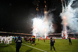 fireworks during line up during the Dutch Eredivisie match between sbv Excelsior Rotterdam and ADO Den Haag at Van Donge & De Roo stadium on March 16, 2018 in Rotterdam, The Netherlands