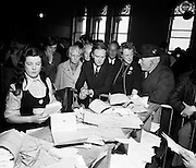 Liam Cosgrave watches as the votes are counted in the general election. After sixteen consecutive years of Fianna Fail government, the Irish people went to the polls to elect a new government. Cosgrave is hopeful that a coalition with Labour would oust the existing office holders.<br /> <br /> 21/03/1973
