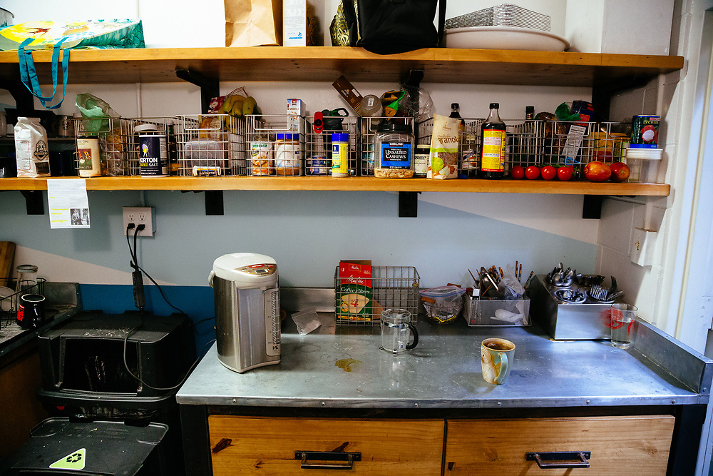Employee kitchen and baskets full of protein for after lunch riding.