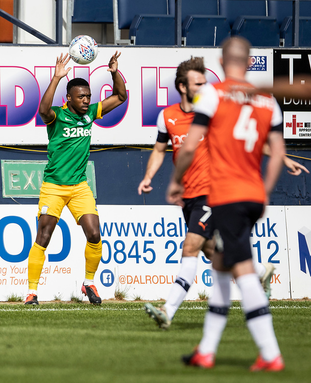 Preston North End's Darnell Fisher takes a throw-in <br /> <br /> Photographer Andrew Kearns/CameraSport<br /> <br /> The EFL Sky Bet Championship - Luton Town v Preston North End - Saturday 20th June 2020 - Kenilworth Road - Luton<br /> <br /> World Copyright © 2020 CameraSport. All rights reserved. 43 Linden Ave. Countesthorpe. Leicester. England. LE8 5PG - Tel: +44 (0) 116 277 4147 - admin@camerasport.com - www.camerasport.com