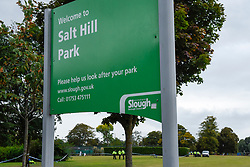 © Licensed to London News Pictures. 22/09/2019. SLOUGH, UK.  A sign outside Salt Hill Park in Slough, Berkshire, where it is reported a 15 year old boy was fatally stabbed after an altercation with another male.  Emergency services attended the scene at 6.30pm on the evening of 21 September where the boy was pronounced dead.  Investigations are ongoing.  Photo credit: Stephen Chung/LNP