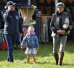 Members of The Royal Family attend the Whatley Manor Horse Trials at Gatcombe Park, Minchinhampton, Gloucestershire, UK, on the 8th September 2017. 08 Sep 2017 Pictured: Zara Tindall, Mia Tindall, Princess Anne, Princess Royal. Photo credit: James Whatling / MEGA TheMegaAgency.com +1 888 505 6342