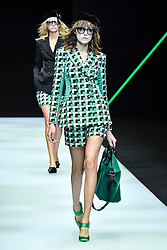 Models on the catwalk during the Emporio Armani Fashion show during Milan Fashion Week