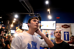 Activist and Parkland shooting survivor David Hogg watches election results during an election watch party on Tuesday, Nov. 6, 2018 at Hurricane Grill & Wings in Coral Springs, Fla. Photo by Carline Jean/Sun Sentinel/TNS/ABACAPRESS.COM