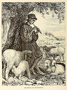 Shepherd of Bethlehem plays a tune on a reed flute From the book 'Those holy fields : Palestine, illustrated by pen and pencil' by Manning, Samuel, 1822-1881; Religious Tract Society (Great Britain) Published in 1873