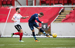 Forfar Athletic's Danny Denholm (11) scoring their goal. half time : Clyde 0 v 1 Forfar Athletic, Scottish League Two game played 4/3/2017 at Clyde's home ground, Broadwood Stadium, Cumbernauld.