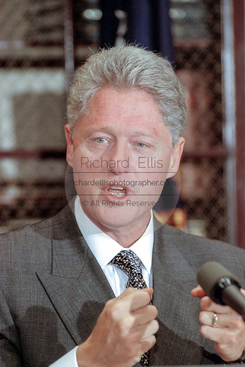 US President Bill Clinton pauses during an event at the White House September 11, 1998 in Washington, DC. The event took place the same day the Starr Report was released to Congress.